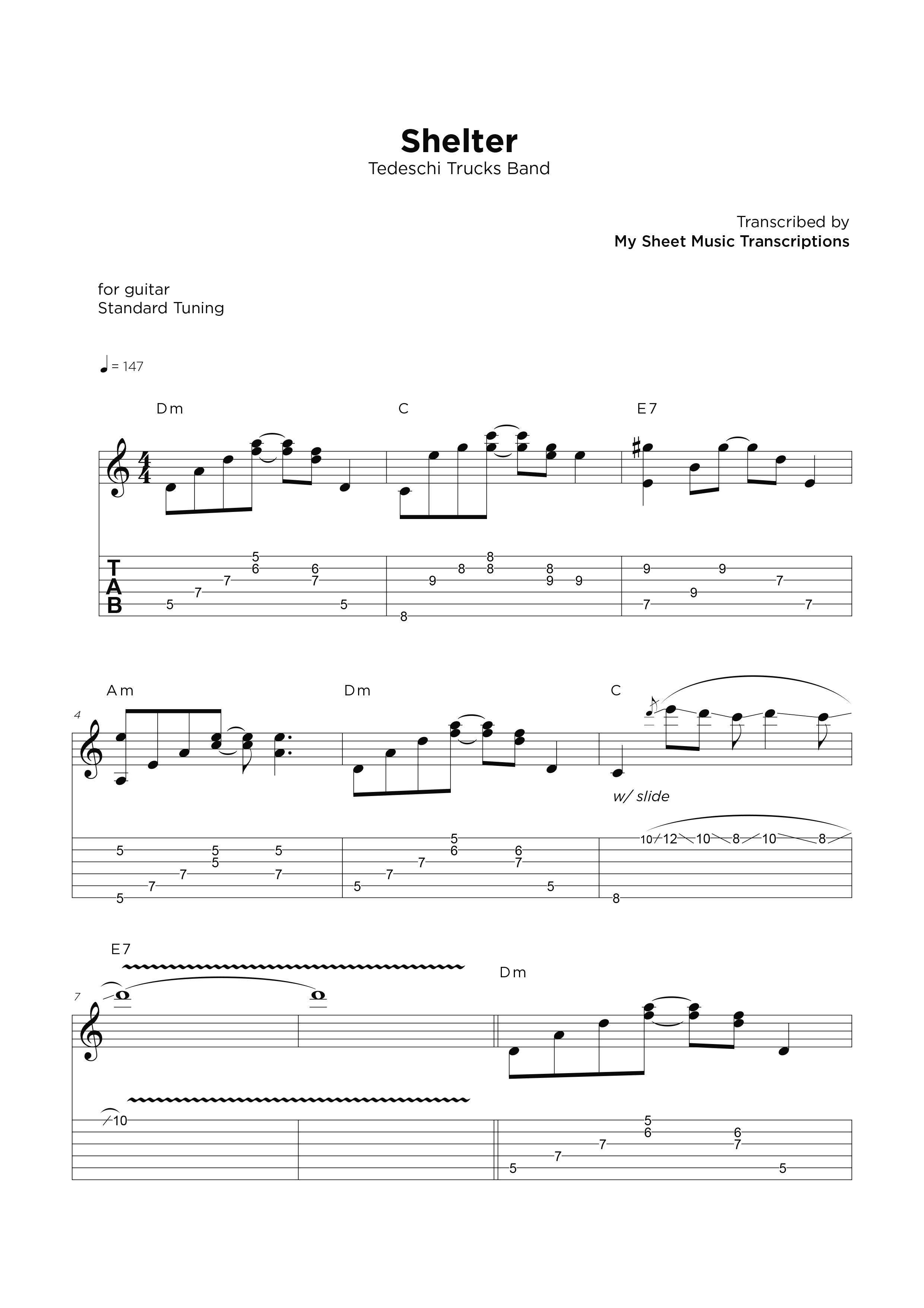 Shelter - Transcripción de partitura para guitarra