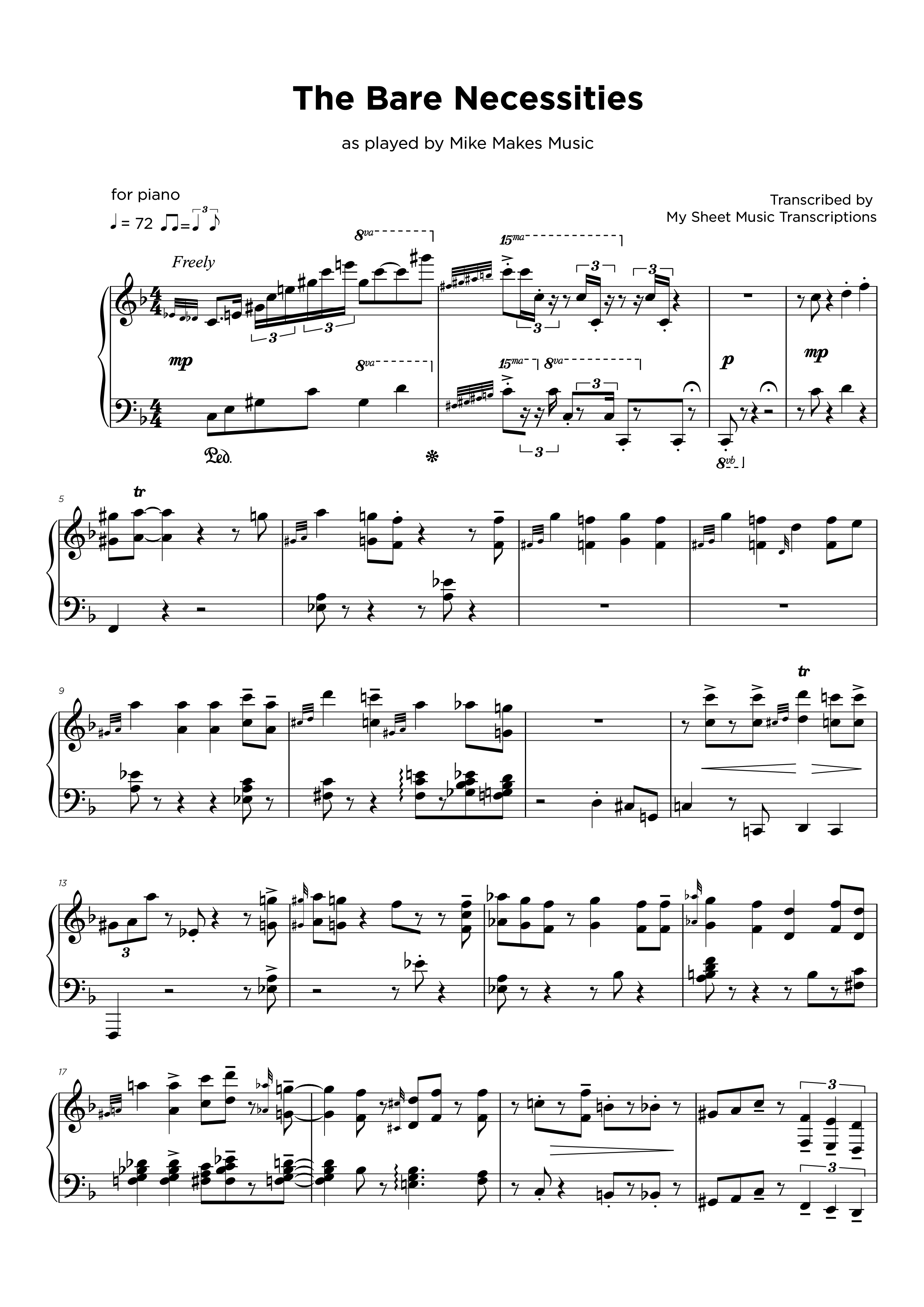- Transcripción de partitura para piano jazz
