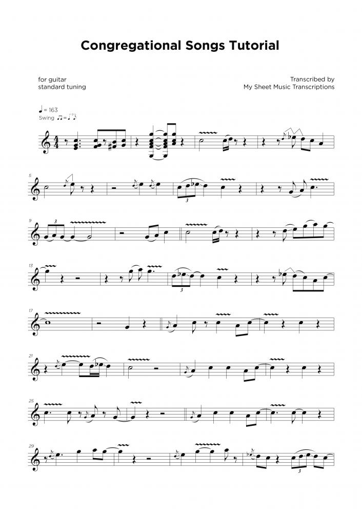 Congregational Songs tutorial - Transcripción de partitura para guitarra