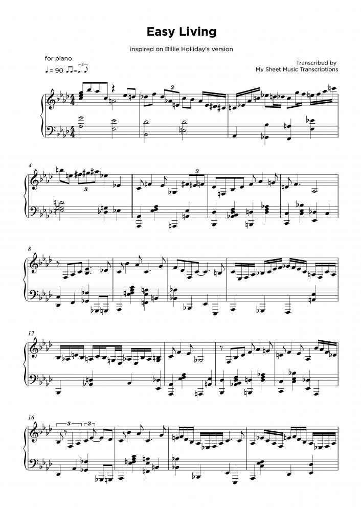 Easy Living - Transcripción de partitura para piano jazz