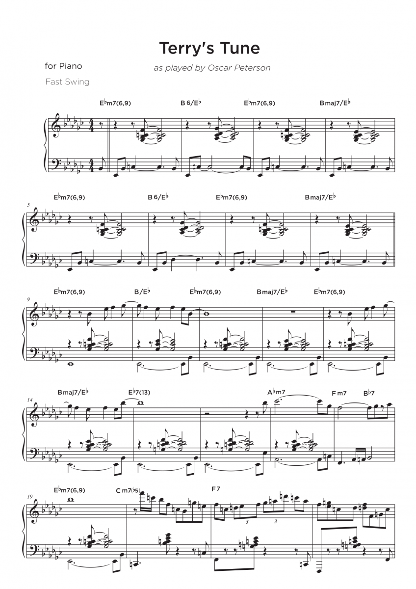 Terrys Tune as played by Oscar Peterson - Ma partition sur mesure